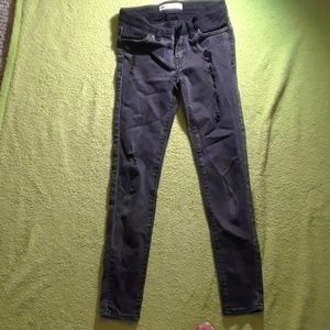Girls black denim destroyed jeans